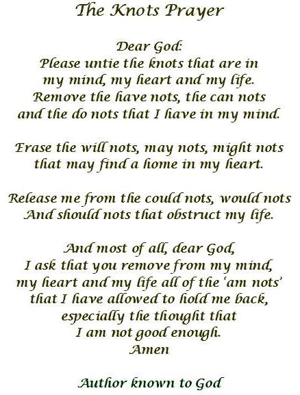Universal image inside the knots prayer printable